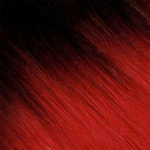 Ombre Strähnen - Braun-Schwarz /  Rot