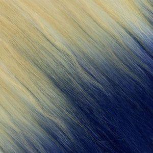 Ombre Strähnen – Blond-Platin Gold-Beige /  Blau